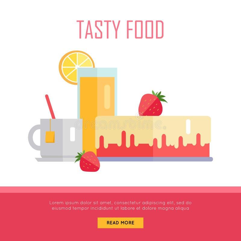 Illustration savoureuse de bannière de Web de concept de nourriture illustration de vecteur
