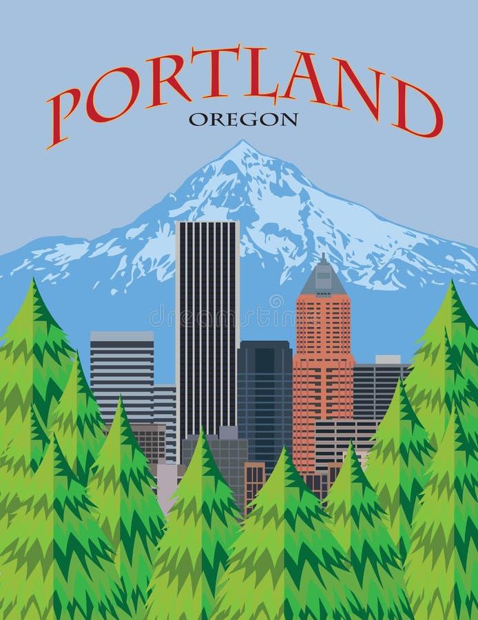 Illustration scénique de vecteur d'affiche d'horizon de Portland Orégon illustration libre de droits