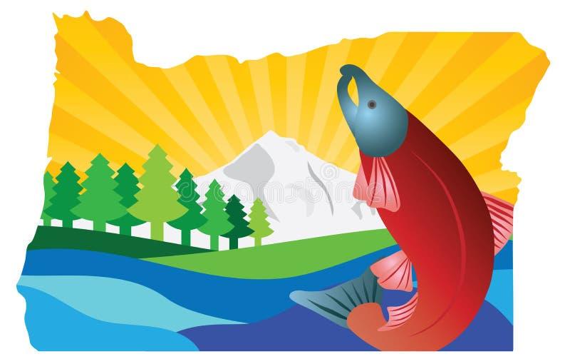 Illustration scénique de vecteur d'ensemble de carte d'État de l'Oregon illustration de vecteur