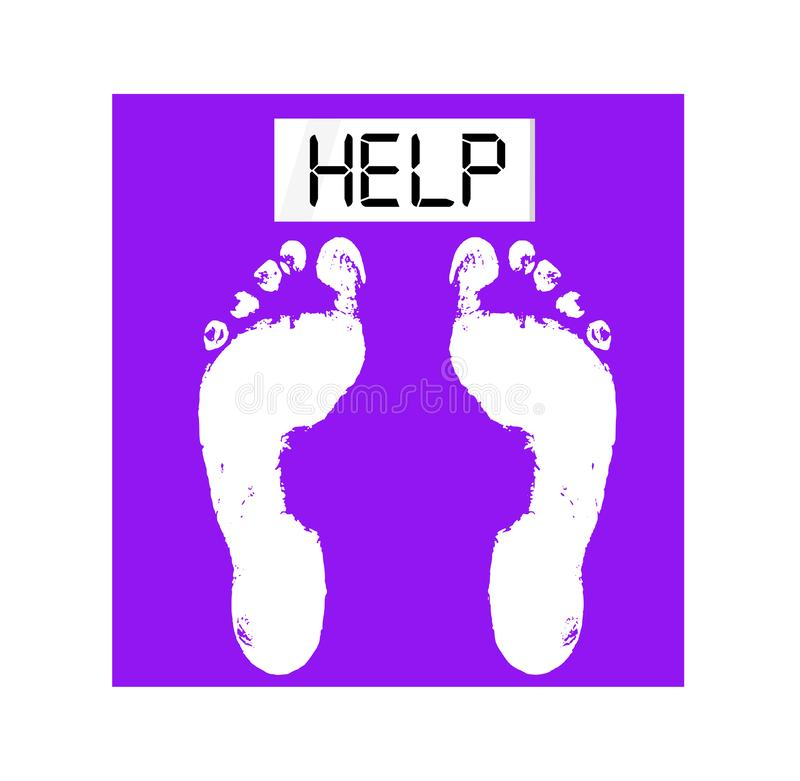 Illustration of a scale asking for help. Eating disorder concept. Illustration of a purple scale asking for help. Eating disorder concept stock illustration