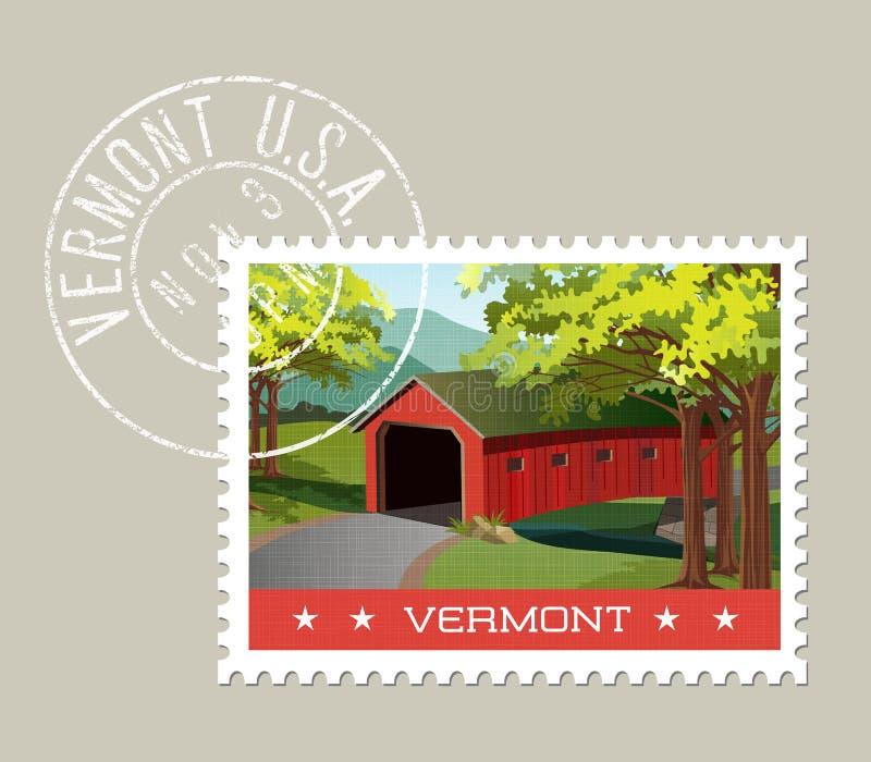Illustration of scenic covered bridge over stream, Vermont. royalty free illustration