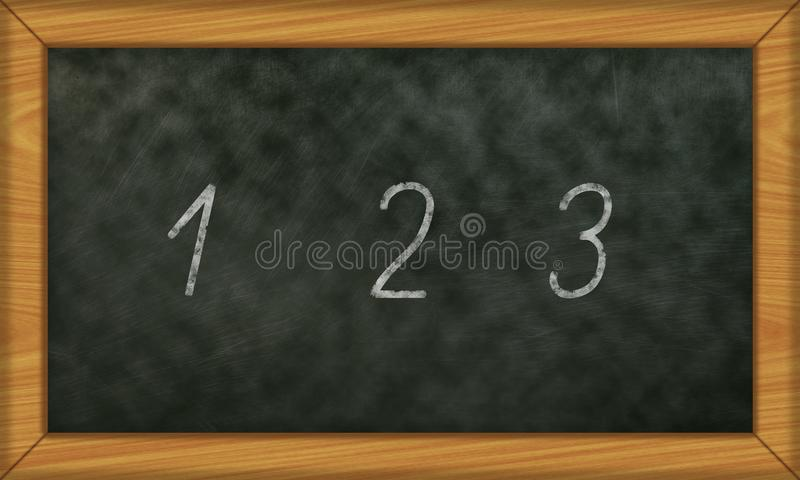 Chalkboard with first numbers 1 to 3 royalty free stock photo