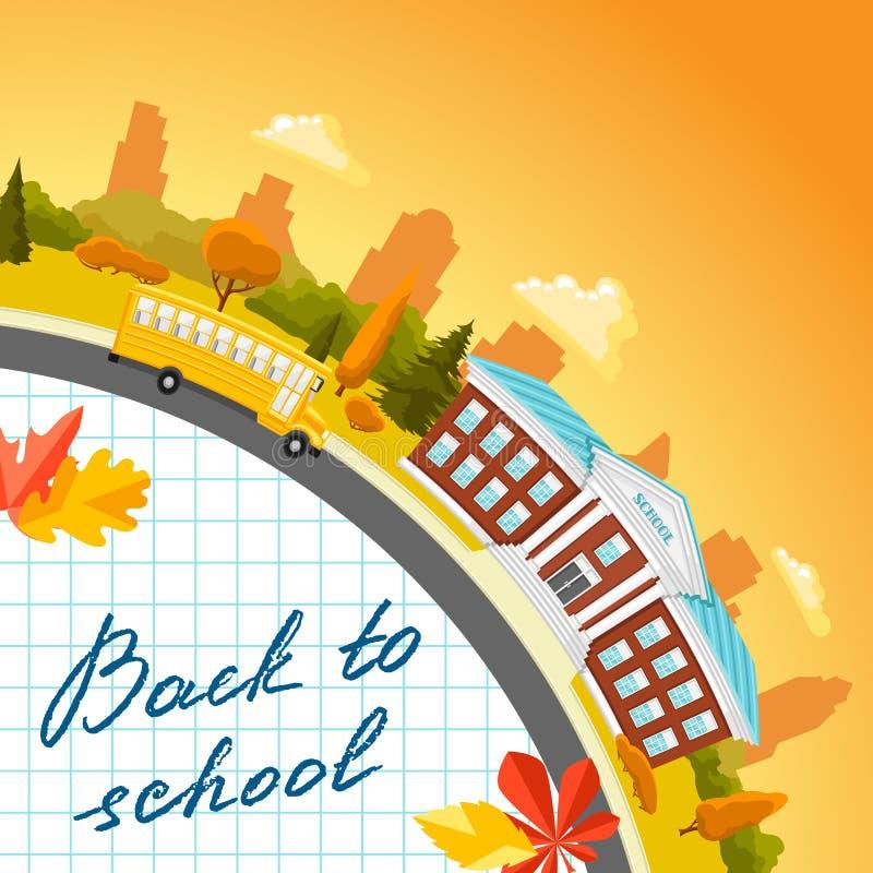 Illustration of school building and bus. stock illustration