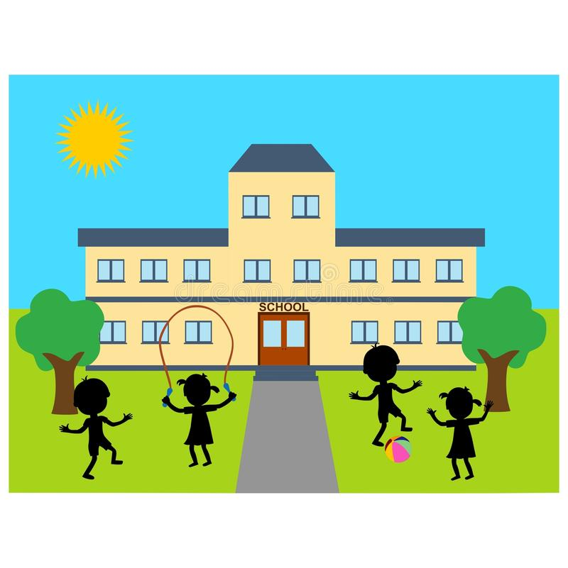 Download School building stock vector. Illustration of path, outside - 29765309