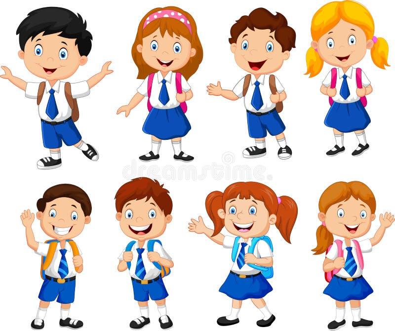 Illustration of school children cartoon stock illustration