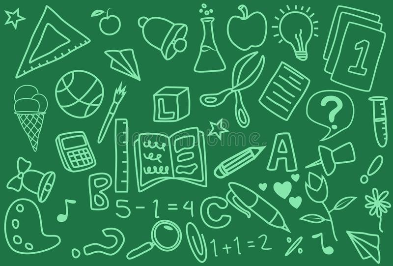 School Day Doodle Icons Handmade stock illustration
