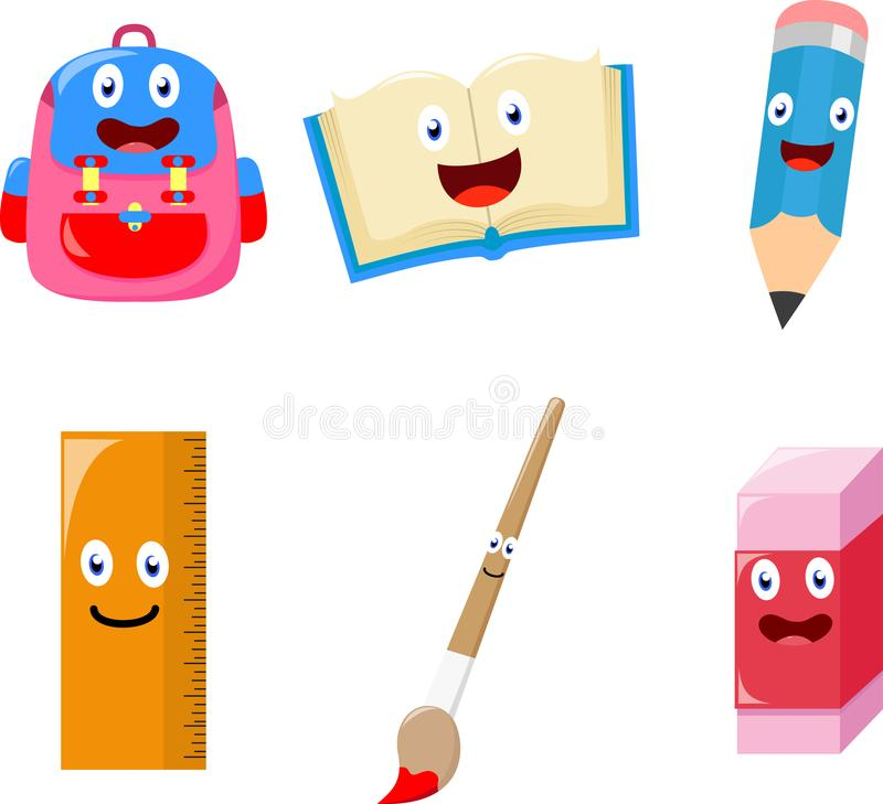 Cute School supplies cartoon collection set stock image