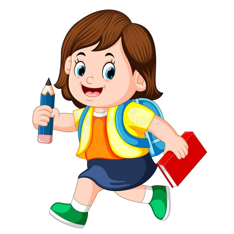 A schoolgirl holding pencil with backpacks and books walking. Illustration of a schoolgirl holding pencil with backpacks and books walking stock illustration