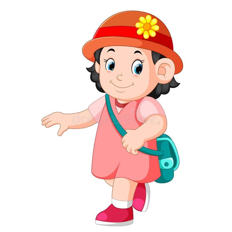 A schoolgirl walking with smile. Illustration of a schoolgirl walking with smile vector illustration