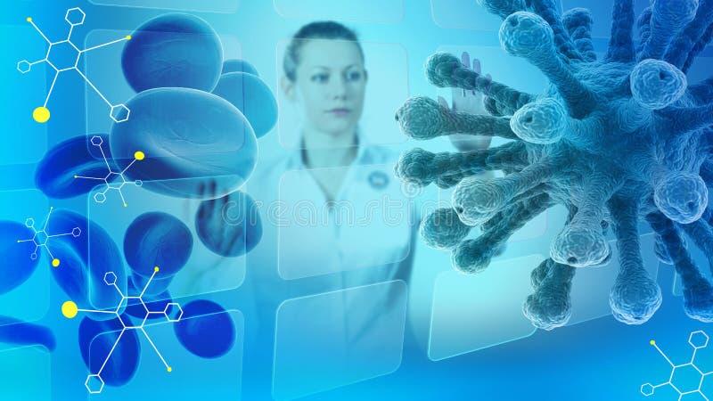 Illustration scientifique avec le femme-scientifique, les molécules, les globules sanguins et le virus illustration stock