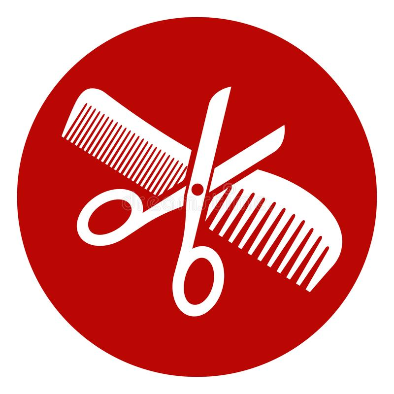 Scissors and comb icon. Illustration of scissors and comb icon royalty free illustration