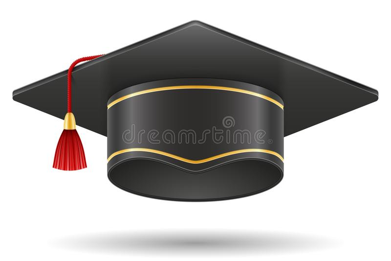 Illustration scolaire de vecteur de chapeau carré de taloche d'obtention du diplôme illustration libre de droits
