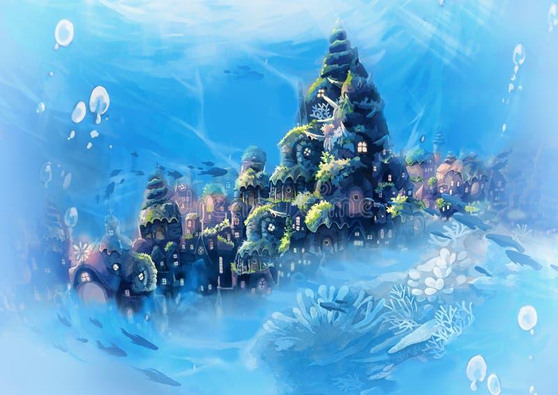 Illustration: Sea City - Vintage Version - Blue royalty free illustration