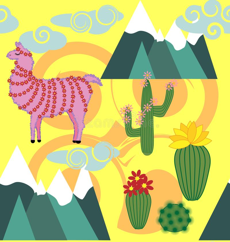 Illustration of seamless pattern with cute cartoon llama alpaca with cactus and design elements on pink background in flat cartoon. Seamless pattern with cute vector illustration