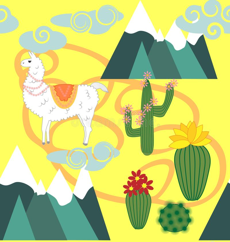 Illustration of seamless pattern with cute cartoon llama alpaca with cactus and design elements on pink background in flat cartoon. Seamless pattern with cute stock illustration