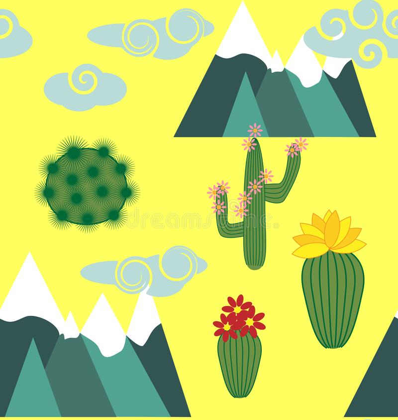 Illustration of seamless pattern with cute cartoon llama alpaca with cactus and design elements on pink background in flat cartoon stock illustration