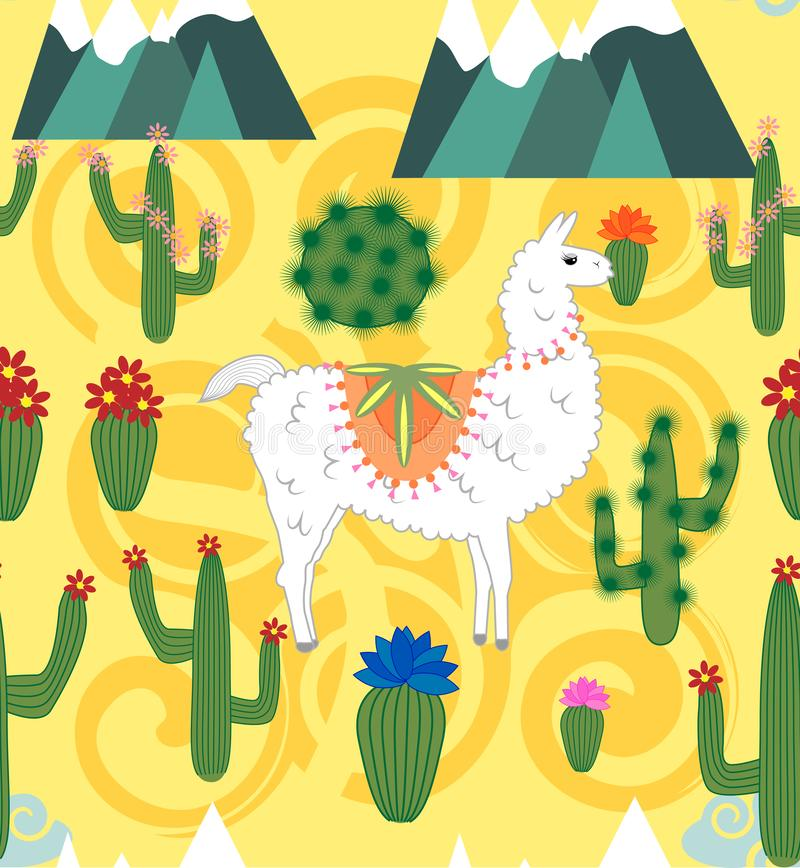 Illustration of seamless pattern with cute cartoon llama alpaca with cactus and design elements on pink background in flat cartoon vector illustration