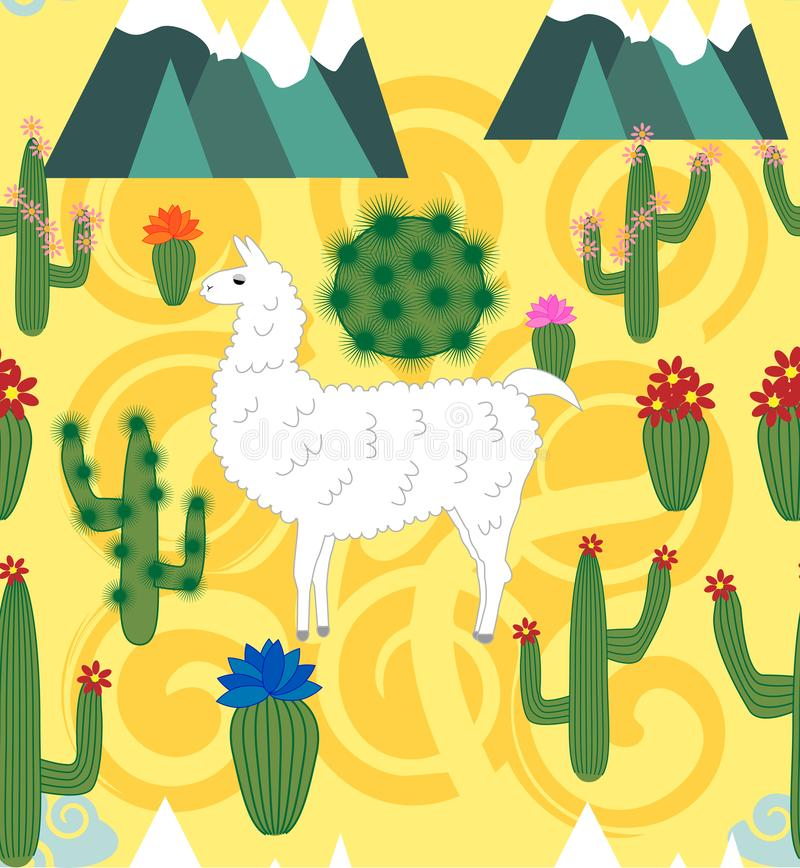 Illustration of seamless pattern with cute cartoon llama alpaca with cactus and design elements on pink background in flat cartoon. Seamless pattern with cute royalty free illustration