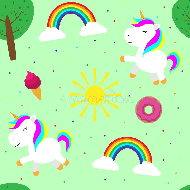 Seamless pattern cute unicorn children illustration print on fabric wallpaper on the wall textile greeting cards scrapbooking. Illustration Seamless pattern cute royalty free illustration