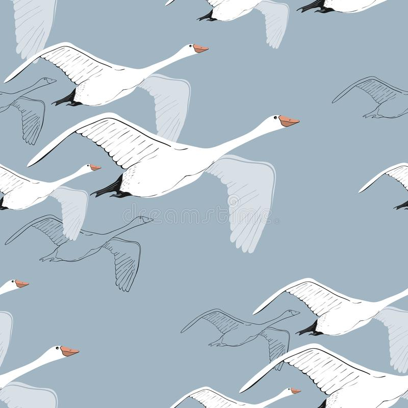 Illustration of Seamless pattern of drawing Flying Swans. Hand drawn, doodle graphic design with birds. Wrapping paper stock images
