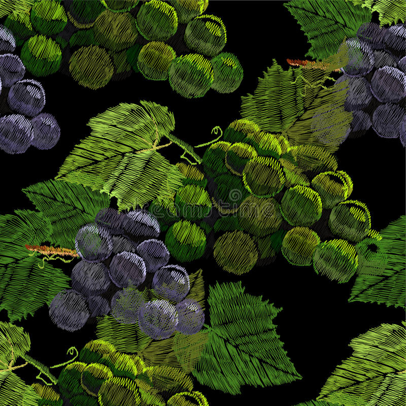 Illustration of Seamless pattern embroidery, needlework with a bunch, cluster of grapes with a green leaf. Necklace of vector illustration