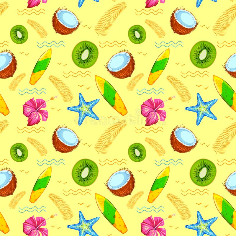 Seamless Pattern with Exotic Tropical Flower stock illustration