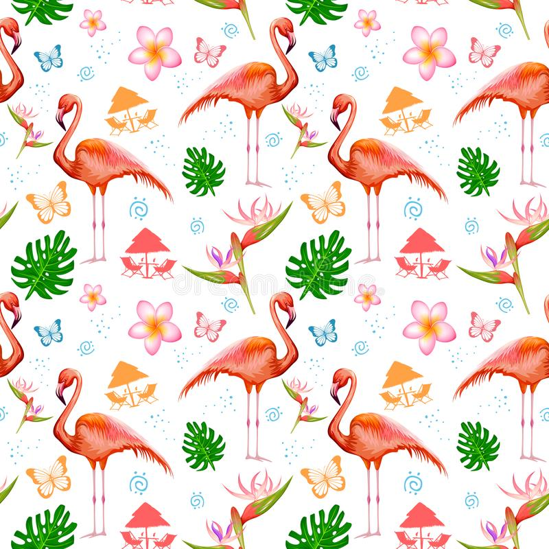 Seamless Pattern with Exotic Tropical Flower and Flamingo stock illustration