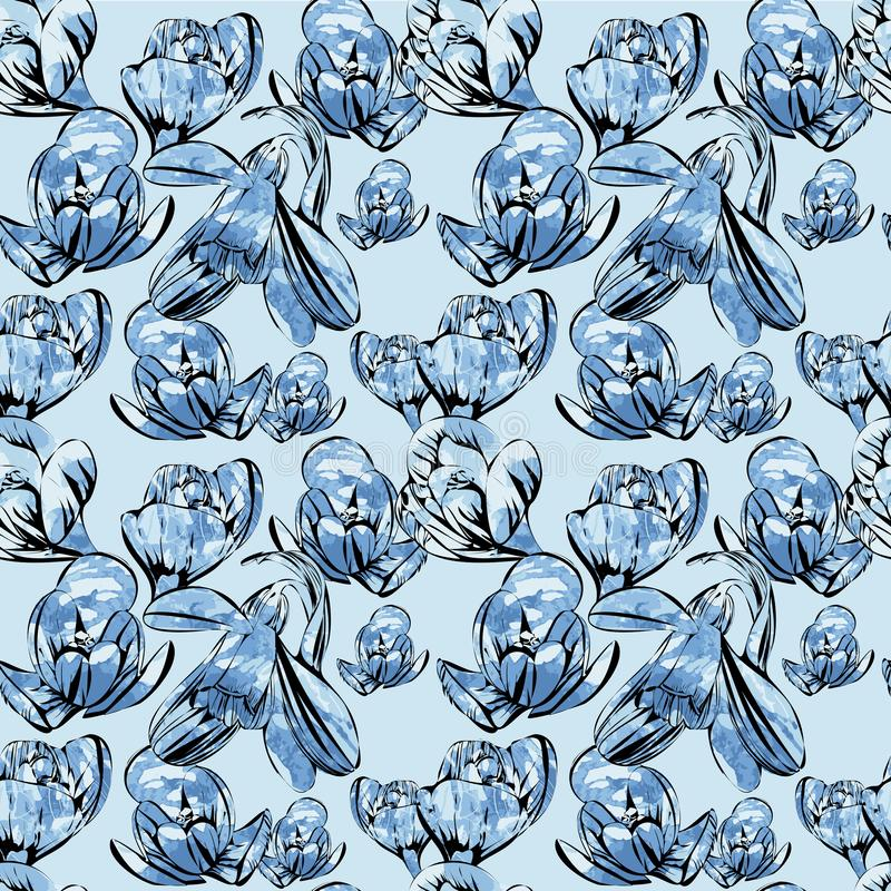 Illustration of seamless pattern First Snowdrops Galanthus Flowers. with watrcolor effects. Spring background, wallpaper royalty free illustration