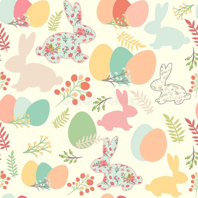 Illustration of seamless pattern with flowers, bunnies, and east vector illustration