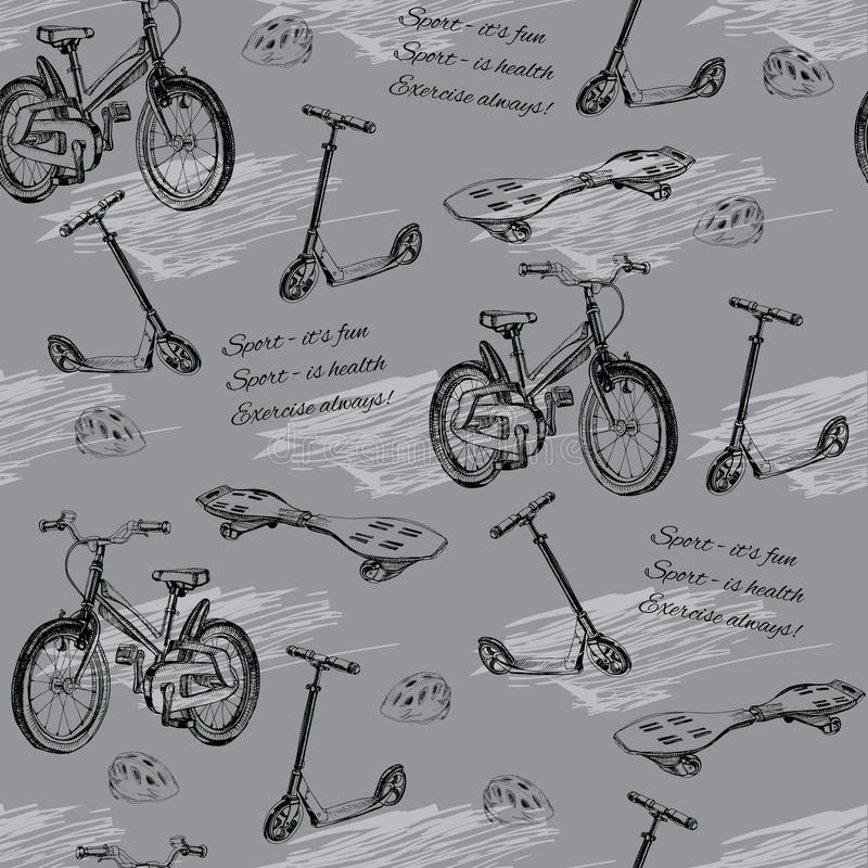 Illustration of seamless pattern of hand drawn baby bike, skateboard, Kick scooter, wave board and helmet. Template for wrapping. Vector illustration of seamless royalty free illustration