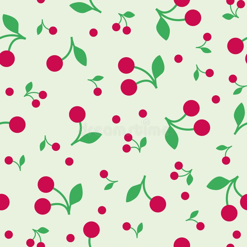 Illustration seamless pattern red cherry stock illustration