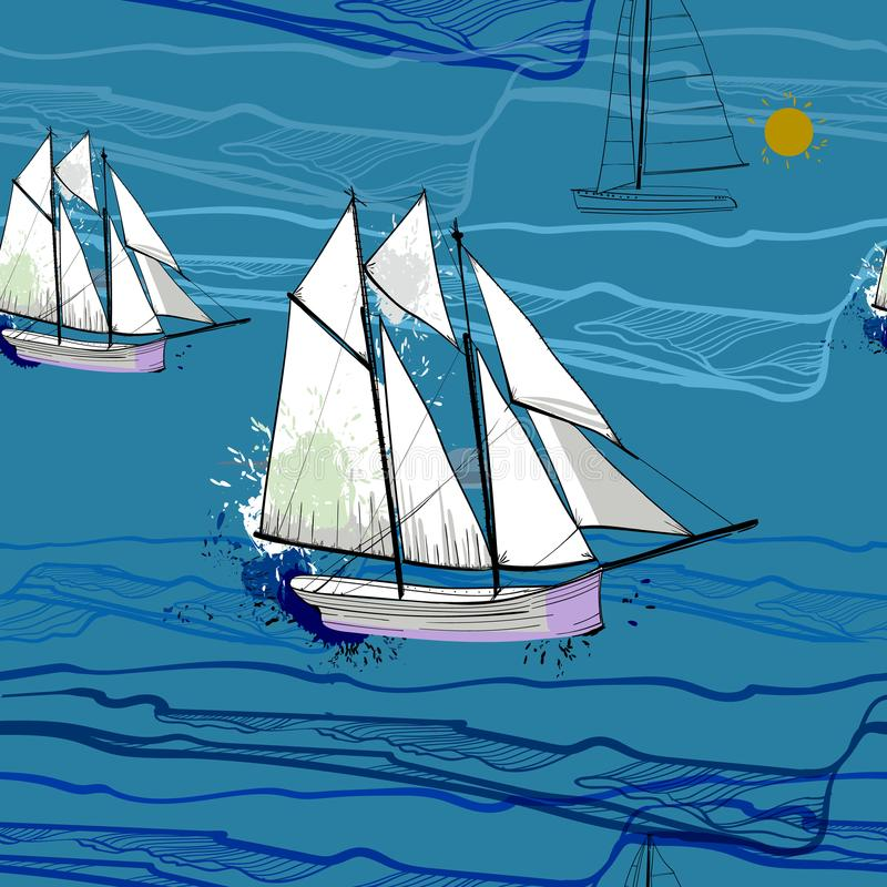 Illustration of seamless pattern with sailing-ship on water. Drawing boat on the blue sea with wave. vector illustration