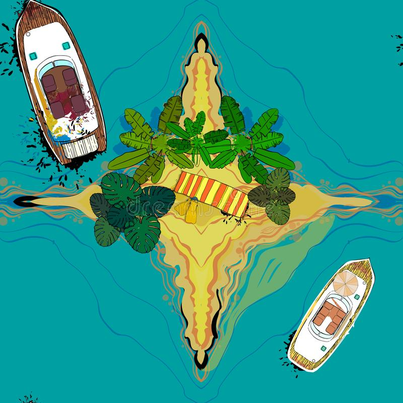 Illustration of seamless pattern with top view ships, palms, towel and island around sea. Drawing of passenger cruise vector illustration