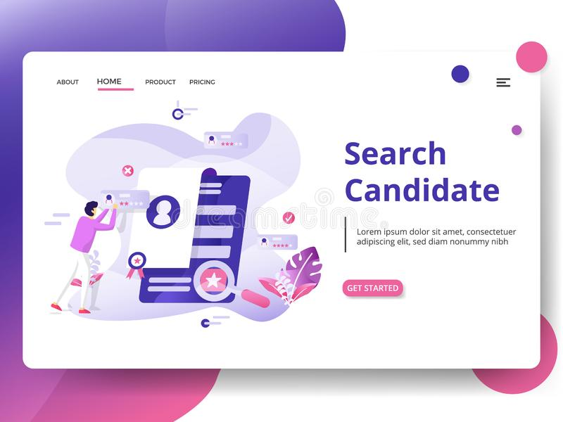 Illustration. Search Candidate Modern Illustration, the concept of Head Hunting, can be used for landing pages, web, UI, banners, templates, backgrounds, flayer stock images