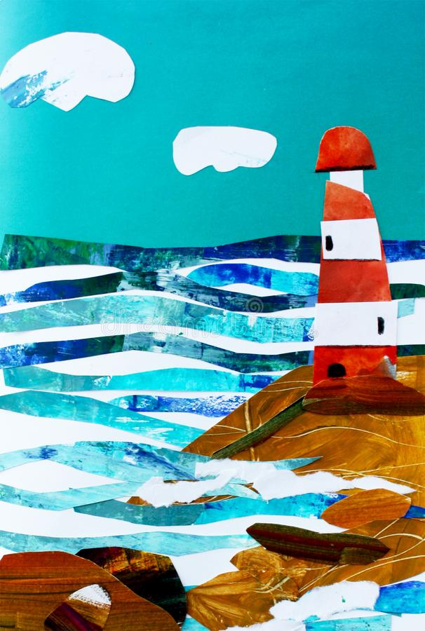 Illustration of seascape with lighthouse. Collage postcard vector illustration