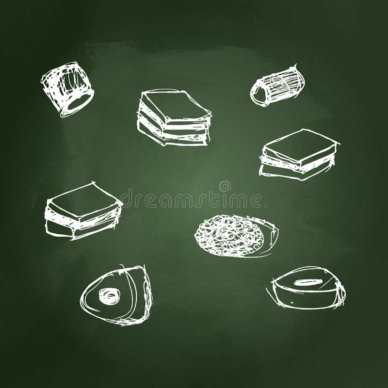 Illustration of a selection of sweets royalty free illustration
