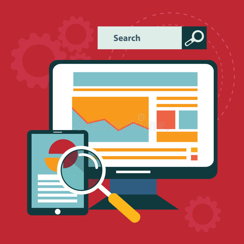 Illustration of SEO concept in flat style.  stock illustration
