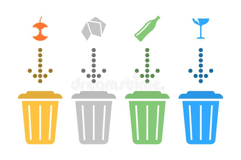 Illustration separate recycling. Vector on white background. Illustration separate recycling. Vector on white background vector illustration