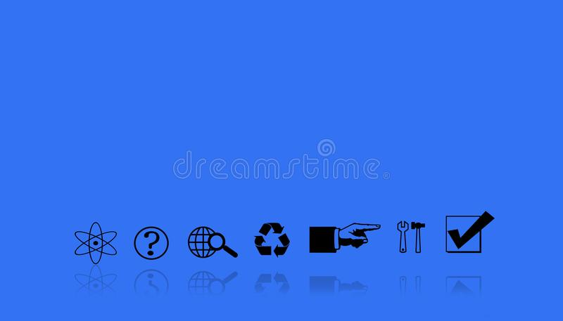 Illustration of a sequence of workflows. Work in symbols on a blue background. stock images