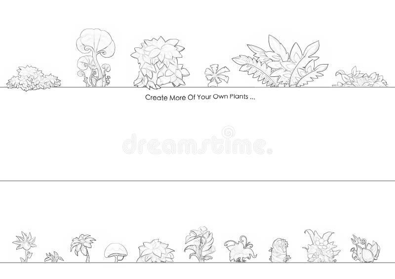 Illustration: Serie för färgläggningbok: Exotiska växter Mjuk tunn linje vektor illustrationer