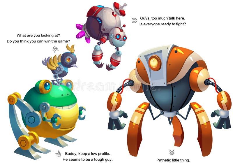 Illustration: Serie för färgläggningbok: Pojkes favorit: Robotkonkurrens vektor illustrationer