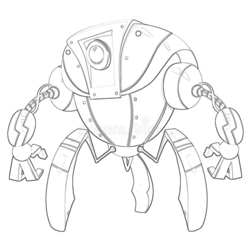 Illustration: Serie för färgläggningbok: Robot Mjuk tunn linje vektor illustrationer