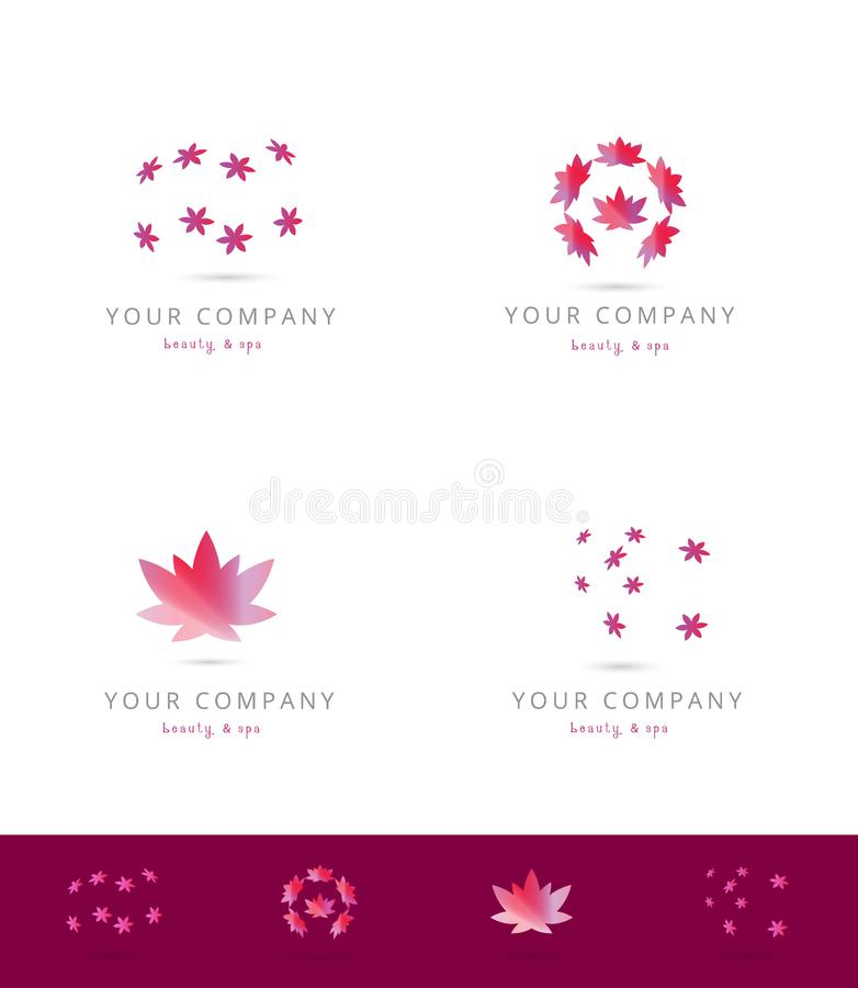Beauty spa logo series. An illustration of a series of logos with spa and beauty theme with lotus flowers vector illustration