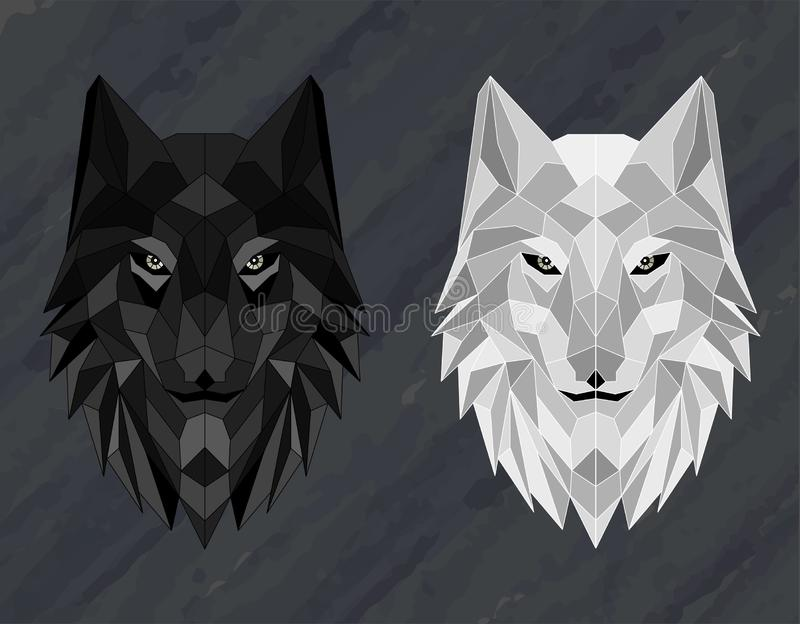 Set of Abstract polygonal wolf head royalty free stock image