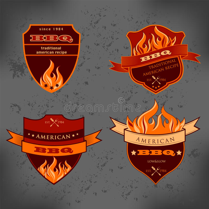 Illustration set of BBQ labels Badge royalty free illustration