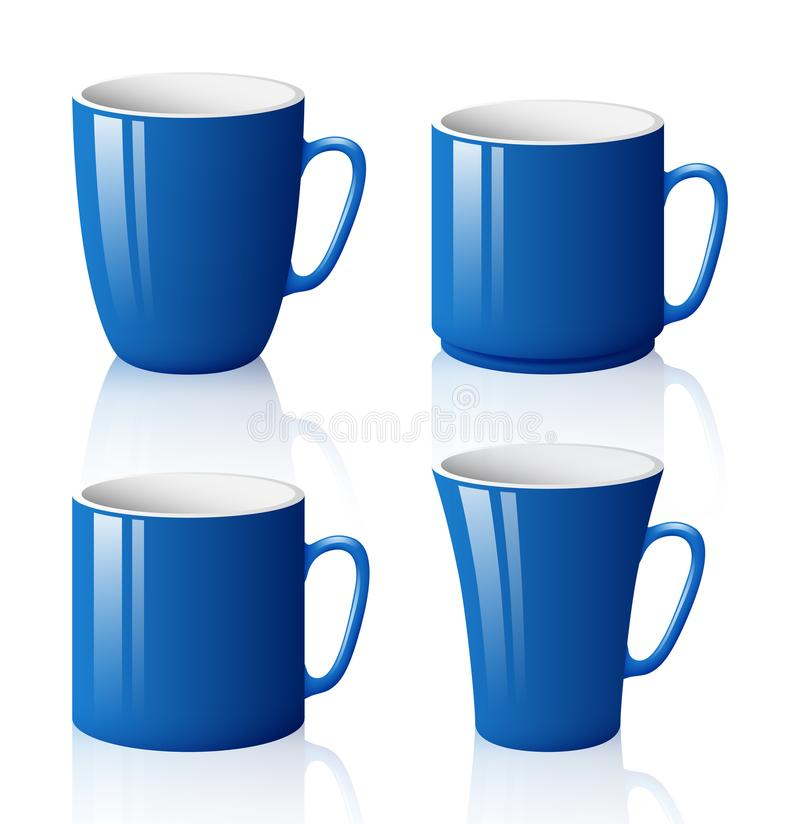 Set of blue cups isolated on white background royalty free illustration
