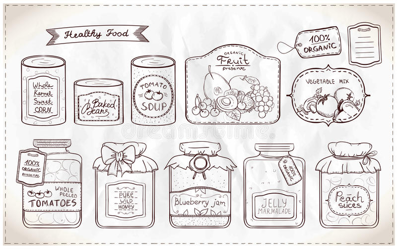 Illustration set of canned goods and tags. Hand drawn graphic illustration set of canned goods and tags on a paper royalty free illustration