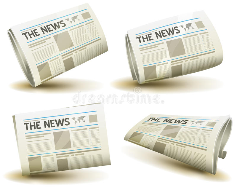 Newspaper Icons Set stock illustration