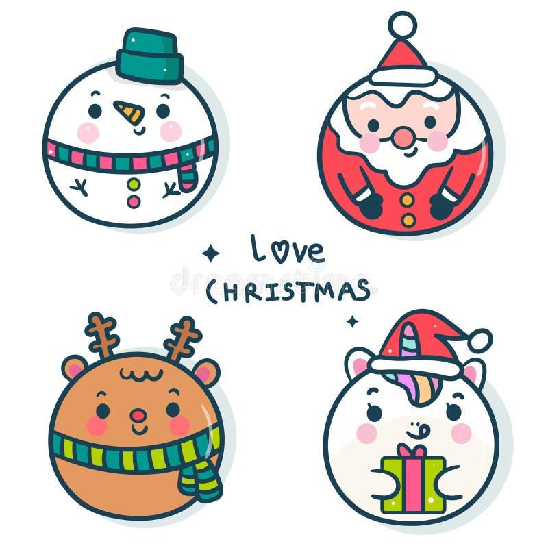 Illustration set of Christmas character cartoon winter, santa vector, pony cartoon, raindeer, snowman: Kawaii animal, Happy New y 皇族释放例证