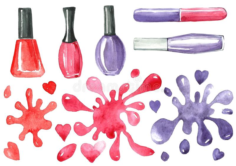 Illustration of a set of cosmetic nail polish and a colored blob. Watercolor illustration of nail polish manicure and blots in red and purple tones. Isolated vector illustration